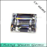 Step cut baguette shape white color synthetic cz