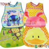 Printed Cartoon Design Baby EVA Baby Bibs with Food Collector Drool Bellyband Velcro