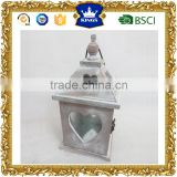 Christmas heart shape wooden candle lantern brush white finishing