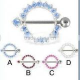 Round jeweled rings with nipple barbell body piercing jewelry