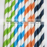Wholesale Paper Straws- Dinosaur blue, orange, lime green, navy Striped Paper Straws - Available in 33 Colors