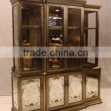 Antique Wooden Curio Cabinets, Exquisite Gold Painting Display Cabinet With Glass Mirror, Classical Wood Carved Wine Cabinet
