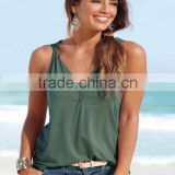 New women t-shirt Europe and the United States foreign trade V-neck button buckle twisted vest