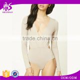 Shandao OEM Custom Brand Women Long Sleeve Plain Color Backless Blank Bodysuit