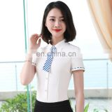 Summer hot sale elegant fitted chiffon contrast color collar custom office ladies white formal shirt design and pants factory