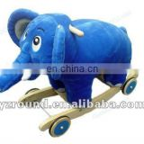 plush simulation blue elephant rocking horse for baby