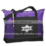 600D polyester tote with pen loop and inside mesh bottle pockets
