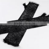 Ladies Long Black Spiderweb Lace Halloween Gothic Fancy Dress Costume Gloves