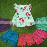 kid clothes 2016 summer Girls Boutique Clothing Set Flutter mermaid princess Dress With ruffle shorts outfits