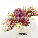 Newest Gold Pink Bumble Bee Ring Crystal