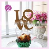 laser cut pearl paper love shape cupcake decoration topper CT-1