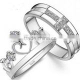 White Gold Plated king and queen engagement and wedding ring FQ-9035                                                                         Quality Choice