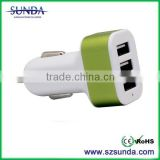 3 USB port car charger 6.6A 33W With smart IC portable travel charger rapid for all phones and tablets
