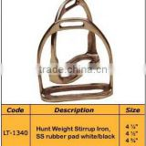 Hunt Weight Stirrup Iron, SS rubber pad white/black Horse Stirrups- Horse Ridding Products