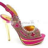 fuchsia sexy diamond sandals ladies shoes latest high heel ladies shoes whoelsale china women shoes