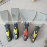 Double color plastic handle knife, Stainless steel blade putty knife with rubber handle, construction tools