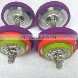 New design colorfull silica gel bumpers dumbbells with color weight plates