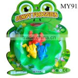 Promotional 6pcs jumping frog game w/1pc leaf Interesting jump frog with leaf toy dancing frog