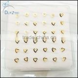 real gold heart shape sterling silver nose rings                                                                                                         Supplier's Choice