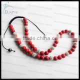Fashion red turquoise shamballa necklace