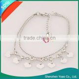 Beautiful Charming Heart Alloy Silver Plated Anklet