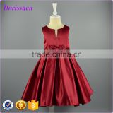 2016 fashion sleeveless satin bow little baby girl dress party wear special occasion ball gown dress children costume