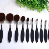 10pcs oval tooth shape makeup brushes set, private logo cosmetic brushes10pcs brushes