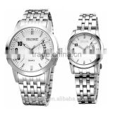 skone white dial cheap big face 1atm water resistant stainless steel couple watch