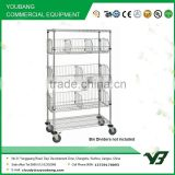 2015 hot sell NSF 48x14 inch 5 layer chrome bread rack with wire cage shelf and 4 inch wheels(YB-WS032)