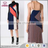 Wholesale top quality apparel new women dresses sexy spaghetti strap Multicolour silk colour block dress                                                                                                         Supplier's Choice
