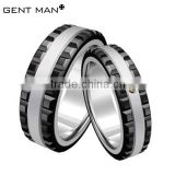 Black Ceramic, CZ Band, Stainless Steel outer ring combined Ceramic Ring, Ceramic Men's Ring, paypal
