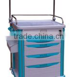 China Supply ABS hospital anesthesia trolley hospital furniture plastic trolley medical cart hospital mobile cart