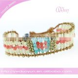Nice Eye Catching Leather Stone Crystal Beads Wraped Bracelets With Shell Button