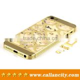 Promotional factory price mother of pearl design for iphone 5s 24k gold plating back replacement housing