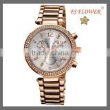 Overseas Country Rose Gold Color Fashion Women Big Sport Watch Japan Movt Diamond Quartz Watch