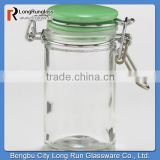 LongRun 3oz 2014 New Products Spice Jars with Green Ceramic Lids Customized Kitchen Glassware