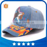 Wholsale sequins star casquette washing cotton denim children hats 5panel adjustable baseball cap for kids