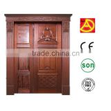 Foshan Double Swing Entry Interior Wood Door Solid Wooden Door DA-185