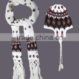 fashion winter 100% acrylic knitting beanie & scarf set