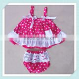 New coming infant swing outfit ruffle polka dot swing back top bloomers outfit popular wild clothes sets baby shirts bloomer set