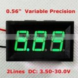 "2 Wires 0.56"" Led DC 3.5-30V Green Digital Voltage Meter For Car"
