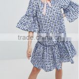 Wholesale Blue Pure cotton Gingham floral print Round neck Ruffle sleeves Cut-out back Smock style Dress