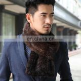 Men's simple style knitted mink fur scarf