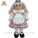 LOW MOQ Beautiful Stuffed Plush Rag Baby Doll Toy For Kids OEM Custom Cute Cartoon Handmade Soft Cloth Rag Doll