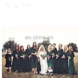 High Quality Green Elegant V Neck Long Sleeve Velvet Wedding Party Dress Bridesmaid Dress