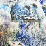 Digital Printed Rayon Fabric with Snow Covered Landscape