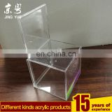 Clear cube pmma plexiglass money cion case box acrylic money coin box with advertising board