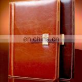 custom design artificial leather cover note book for promotion souvenir
