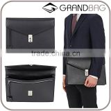 New York men black smooth leather gusseted portfolio leather business bag hand bag