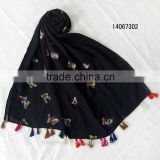 fashion butterfly ambroidered scarf navy blue women spring long embroideried scarf w tassels